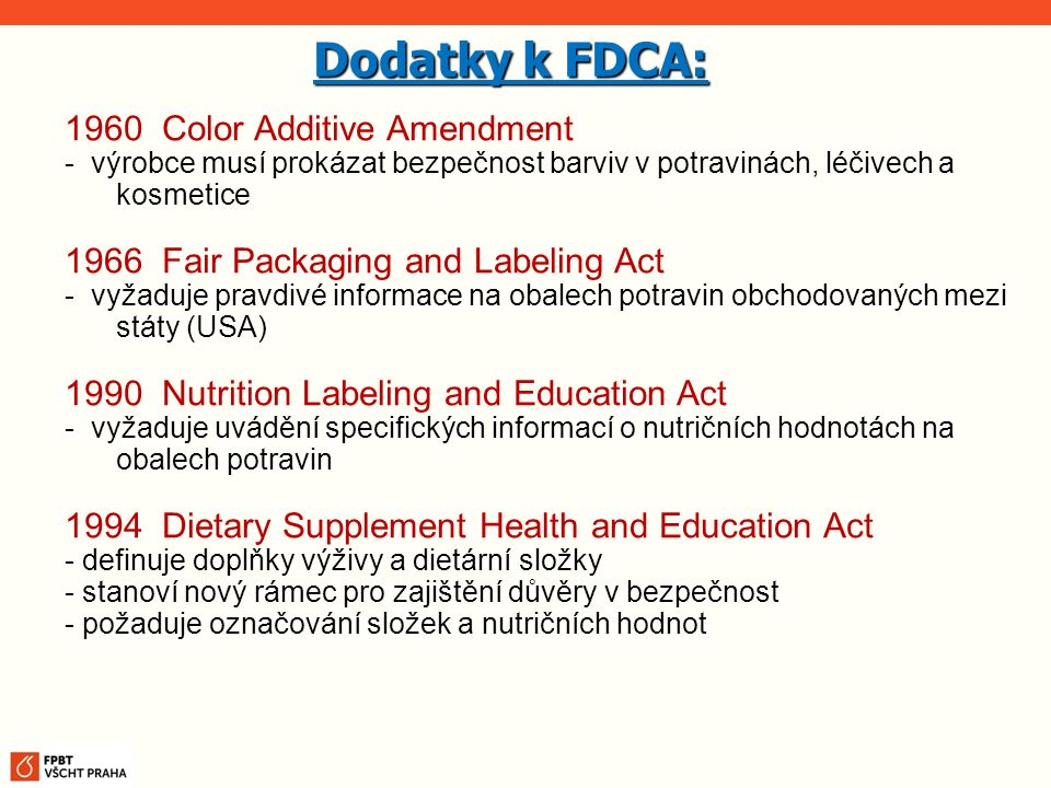 Dodatky k FDCA: 1960 Color Additive Amendment
