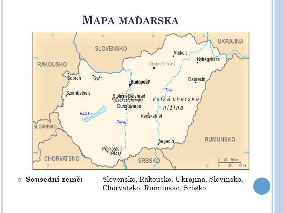 Mapa maďarska Sousední země: Slovensko, Rakousko, Ukrajina, Slovinsko, Chorvatsko, Rumunsko, Srbsko.