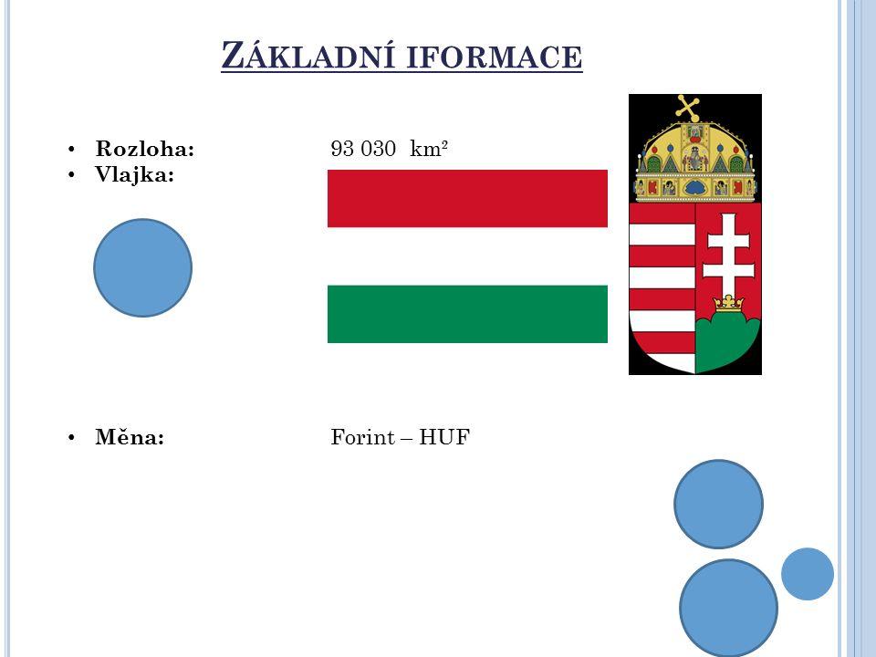 Základní iformace Rozloha: 93 030 km² Vlajka: Měna: Forint – HUF