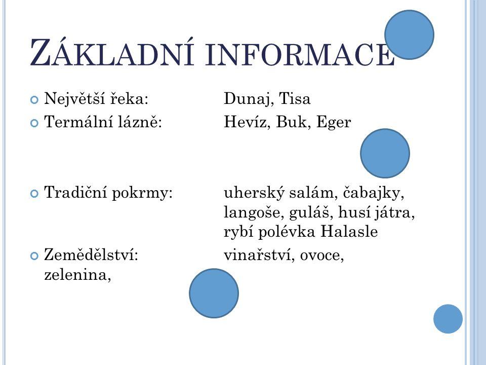 Základní informace Největší řeka: Dunaj, Tisa