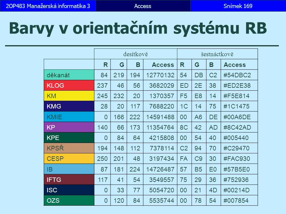 Barvy v orientačním systému RB