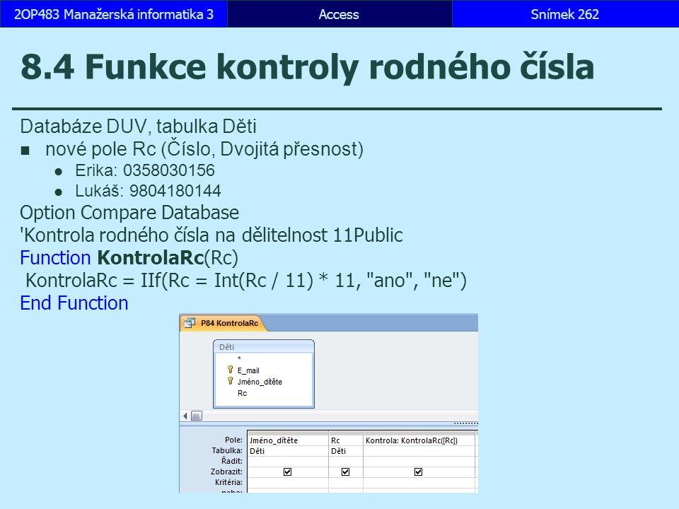 8.4 Funkce kontroly rodného čísla