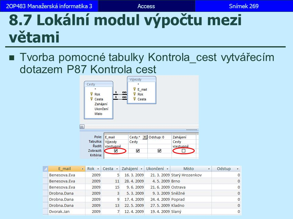 8.7 Lokální modul výpočtu mezi větami