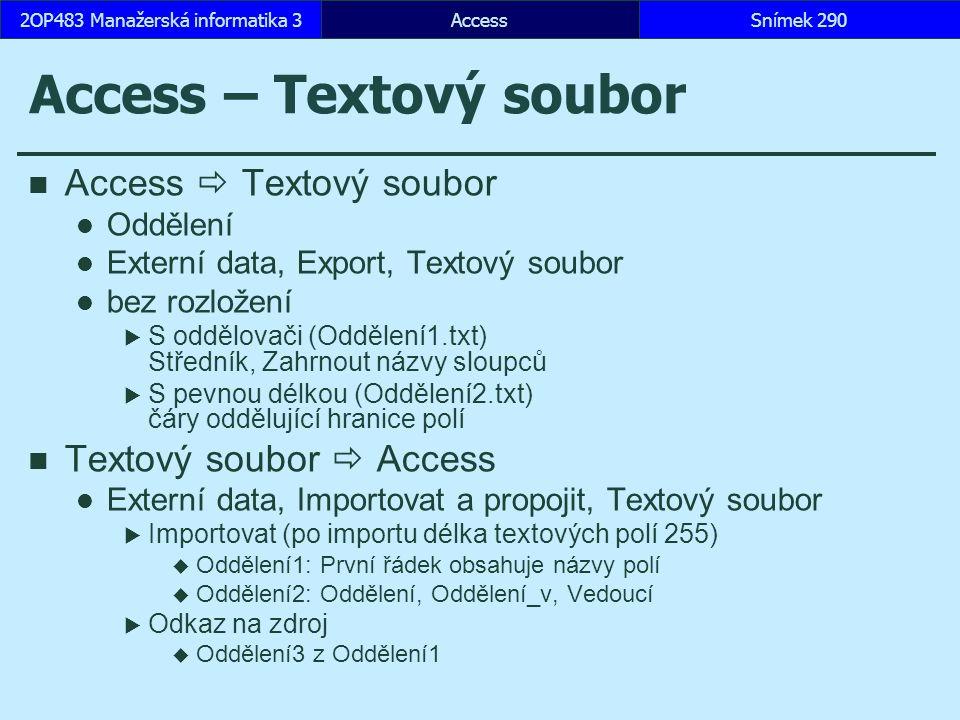 Access – Textový soubor