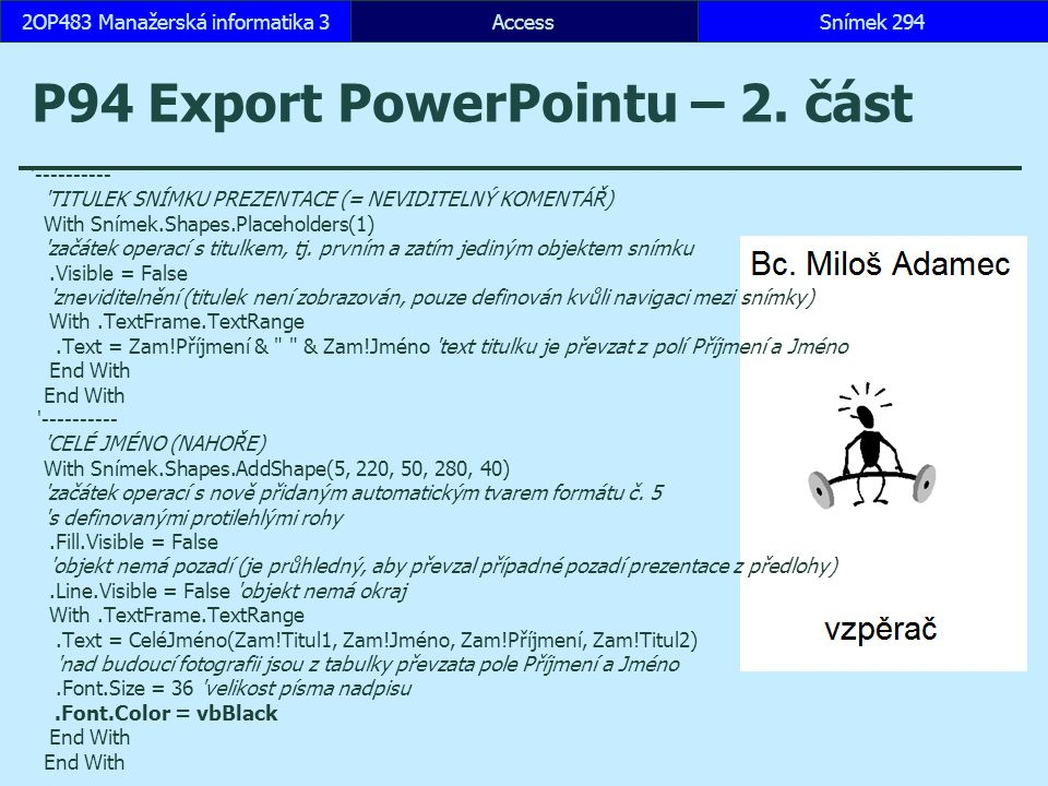 P94 Export PowerPointu – 2. část