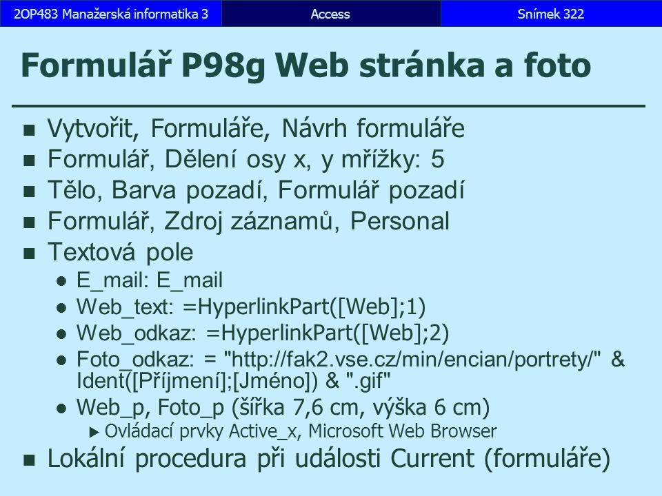 Formulář P98g Web stránka a foto