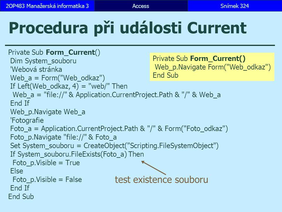 Procedura při události Current