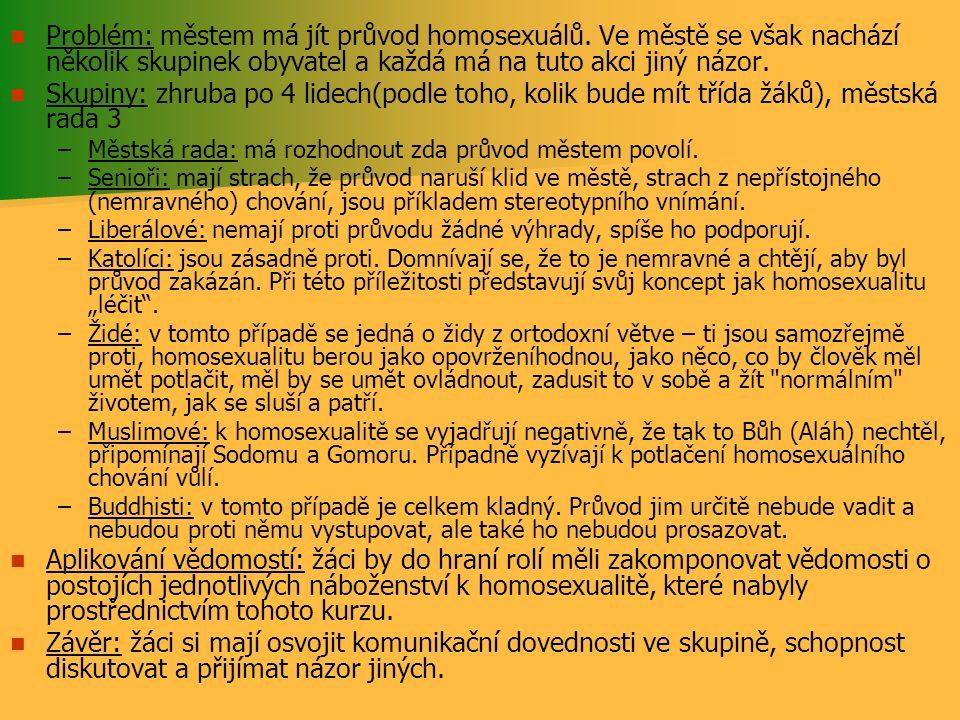 Problém: městem má jít průvod homosexuálů