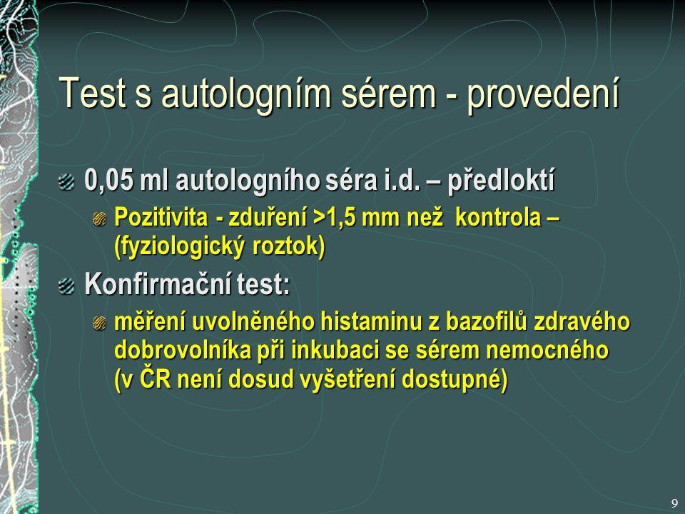 Test s autologním sérem - provedení