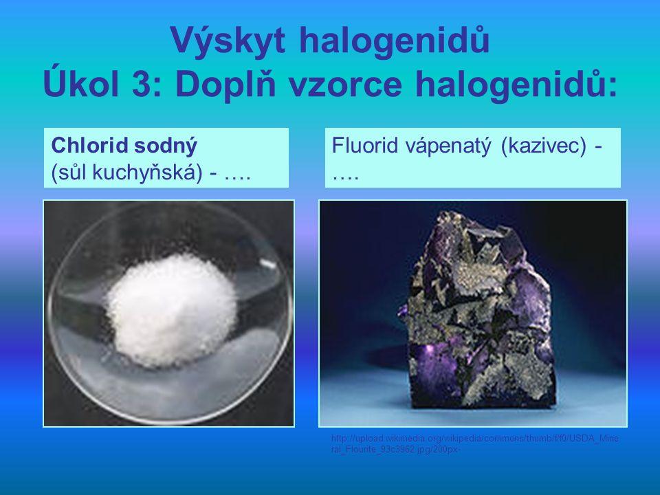 Výskyt halogenidů Úkol 3: Doplň vzorce halogenidů: