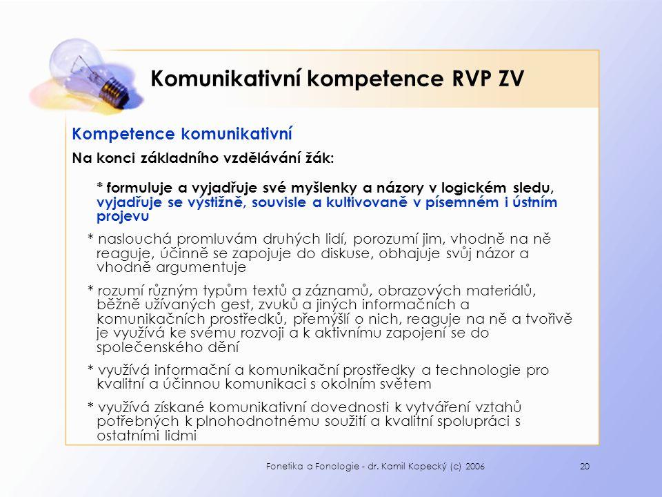 Komunikativní kompetence RVP ZV
