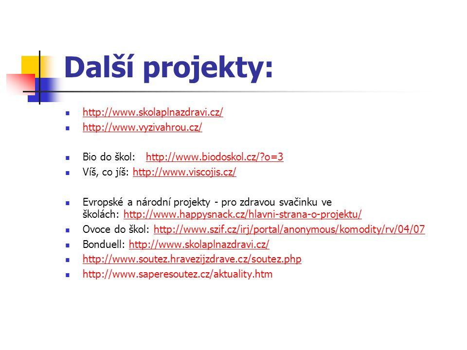 Další projekty: http://www.skolaplnazdravi.cz/