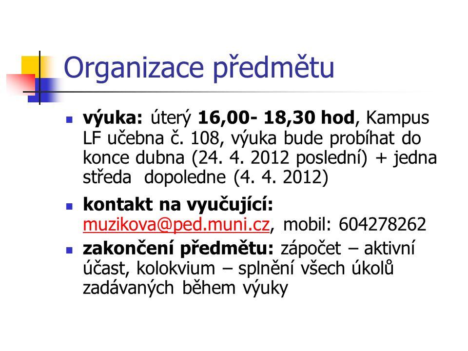 Organizace předmětu