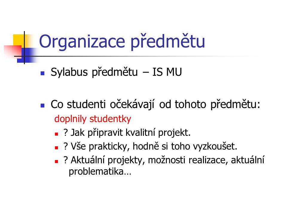 Organizace předmětu Sylabus předmětu – IS MU