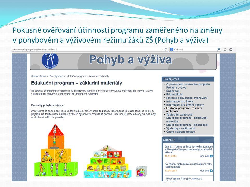 Pokusné ověřování účinnosti programu zaměřeného na změny v pohybovém a výživovém režimu žáků ZŠ (Pohyb a výživa)