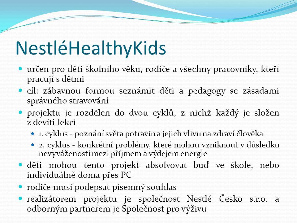NestléHealthyKids určen pro děti školního věku, rodiče a všechny pracovníky, kteří pracují s dětmi.