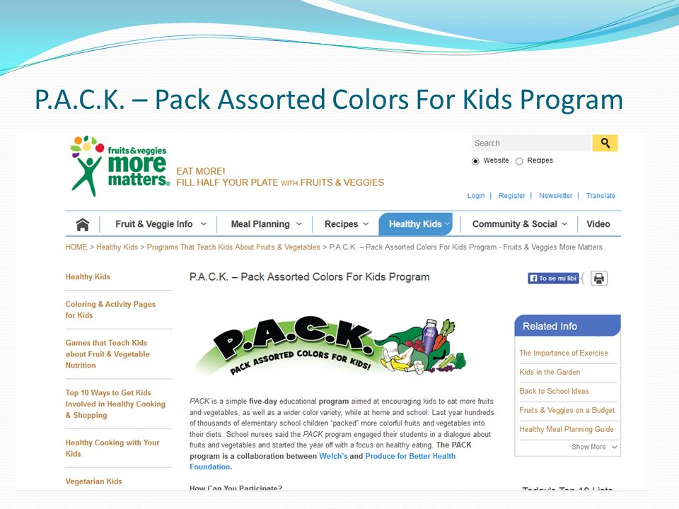 P.A.C.K. – Pack Assorted Colors For Kids Program