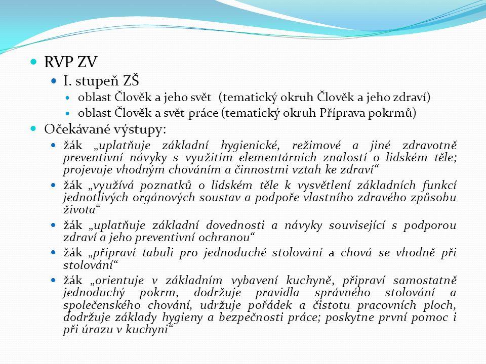 RVP ZV I. stupeň ZŠ Očekávané výstupy: