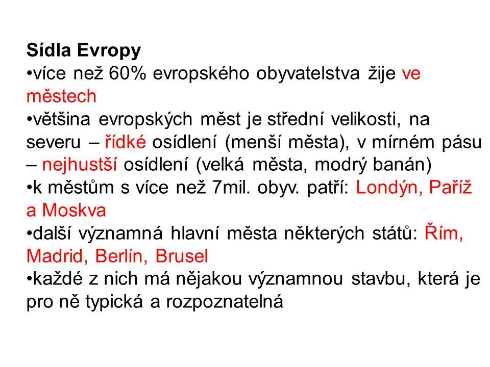 Sídla Evropy více než 60% evropského obyvatelstva žije ve městech.