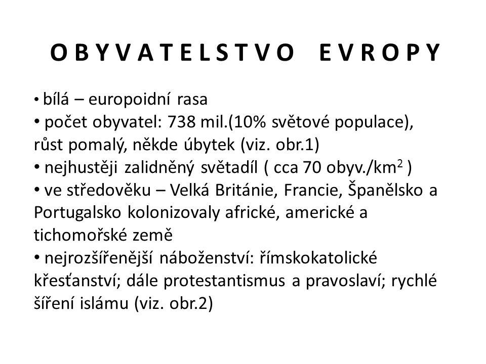 O B Y V A T E L S T V O E V R O P Y bílá – europoidní rasa. počet obyvatel: 738 mil.(10% světové populace),