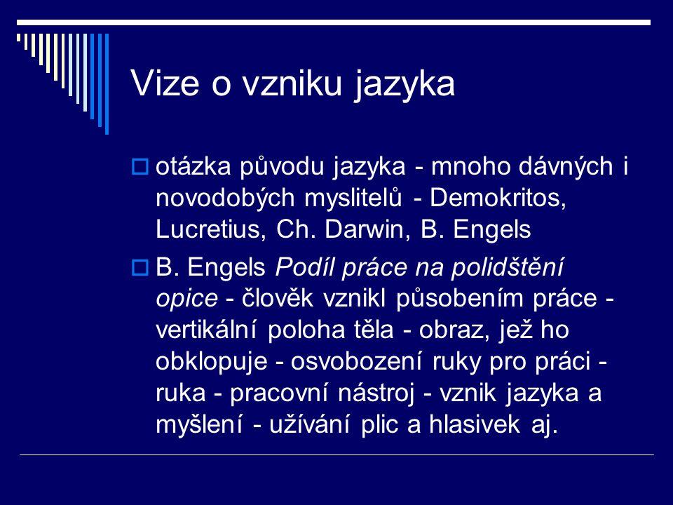 Vize o vzniku jazyka otázka původu jazyka - mnoho dávných i novodobých myslitelů - Demokritos, Lucretius, Ch. Darwin, B. Engels.
