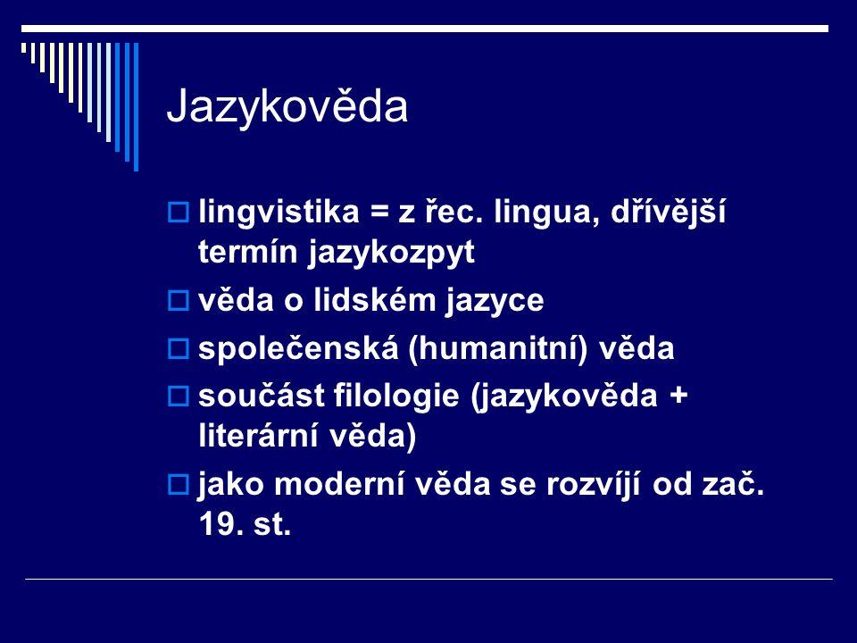 Jazykověda lingvistika = z řec. lingua, dřívější termín jazykozpyt