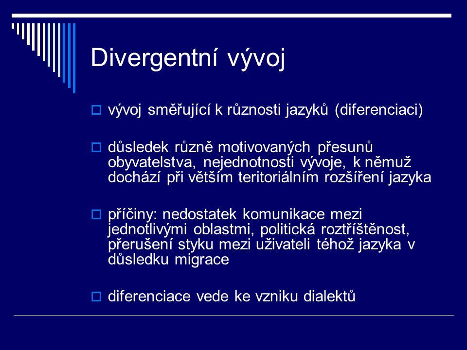 Divergentní vývoj vývoj směřující k různosti jazyků (diferenciaci)