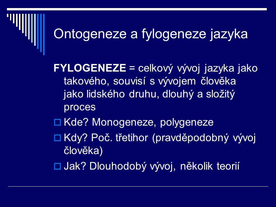 Ontogeneze a fylogeneze jazyka