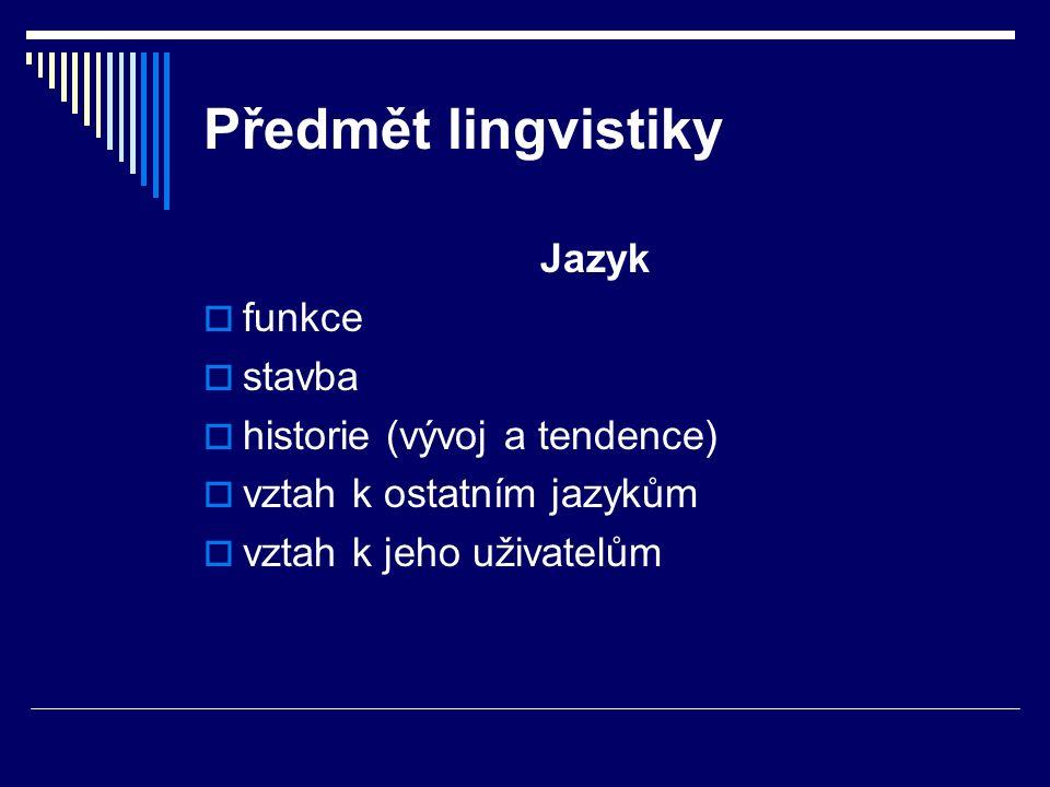 Předmět lingvistiky Jazyk funkce stavba historie (vývoj a tendence)