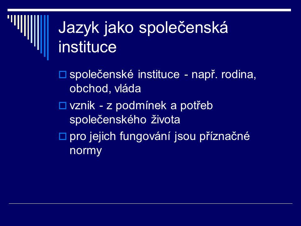 Jazyk jako společenská instituce