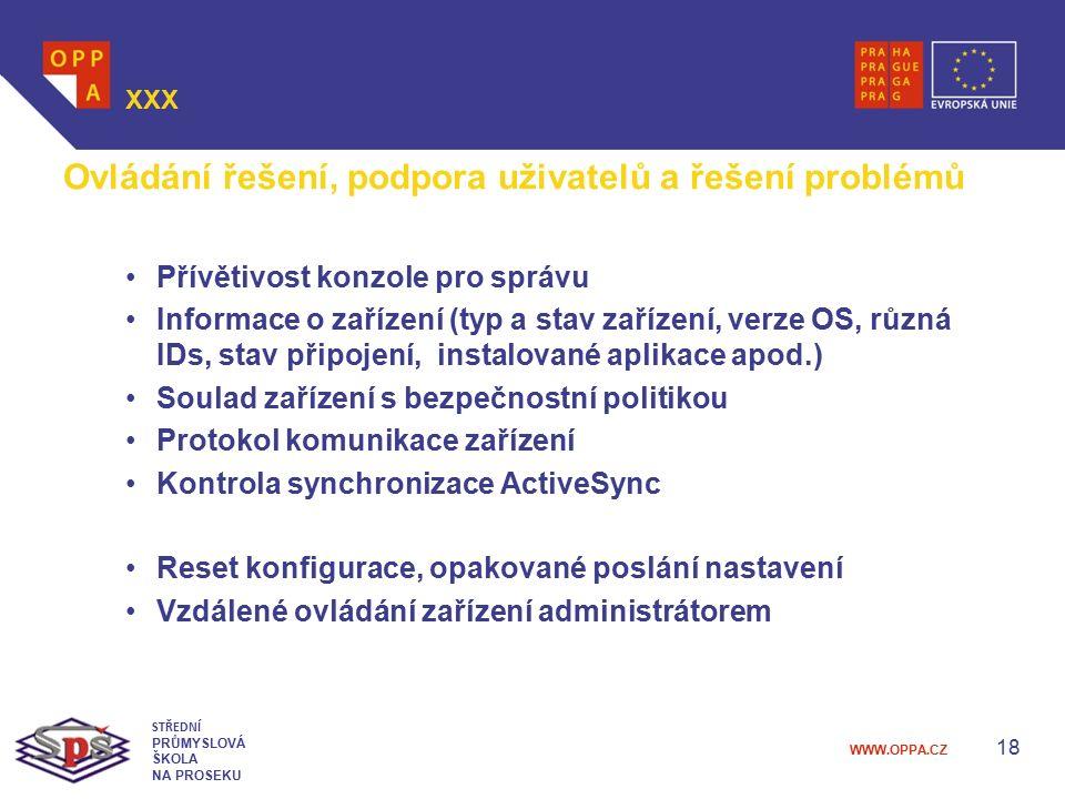 Ovládání řešení, podpora uživatelů a řešení problémů