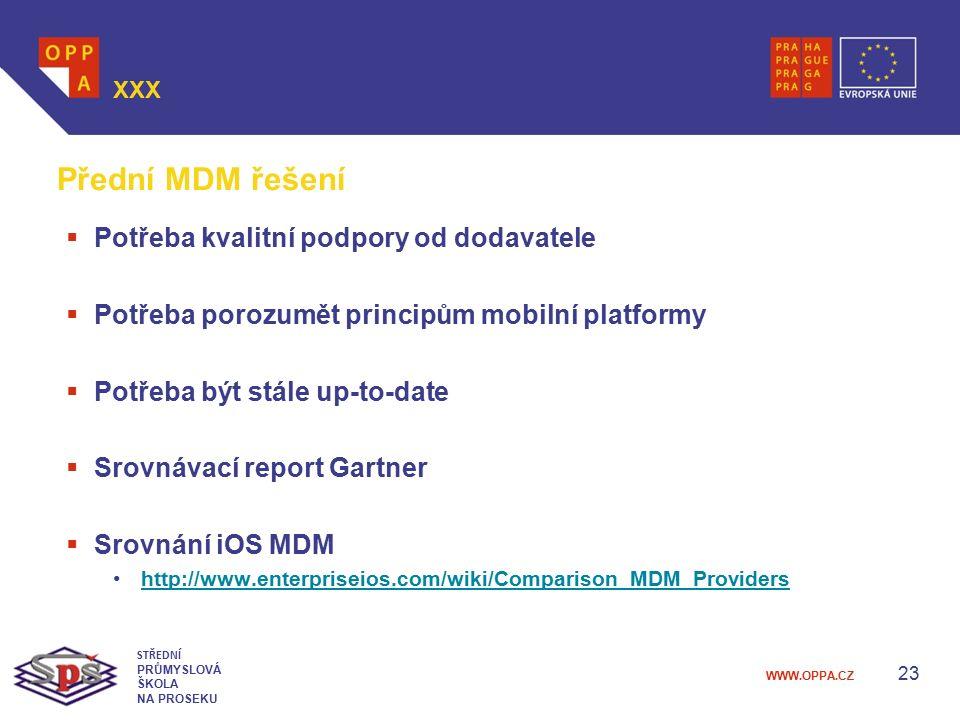Přední MDM řešení Potřeba kvalitní podpory od dodavatele