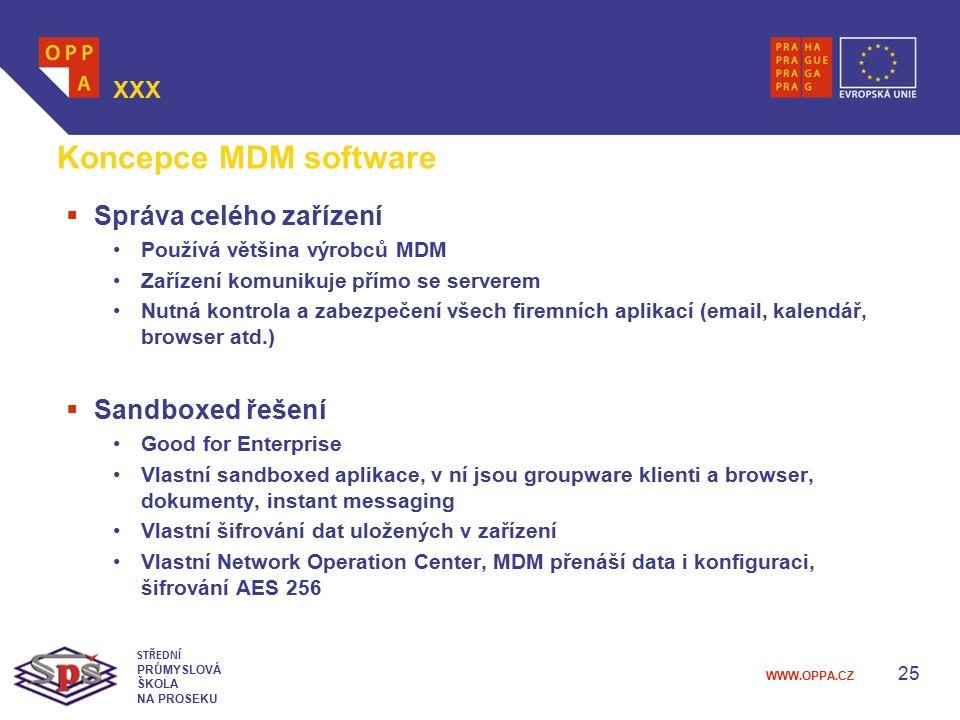 Koncepce MDM software Správa celého zařízení Sandboxed řešení XXX
