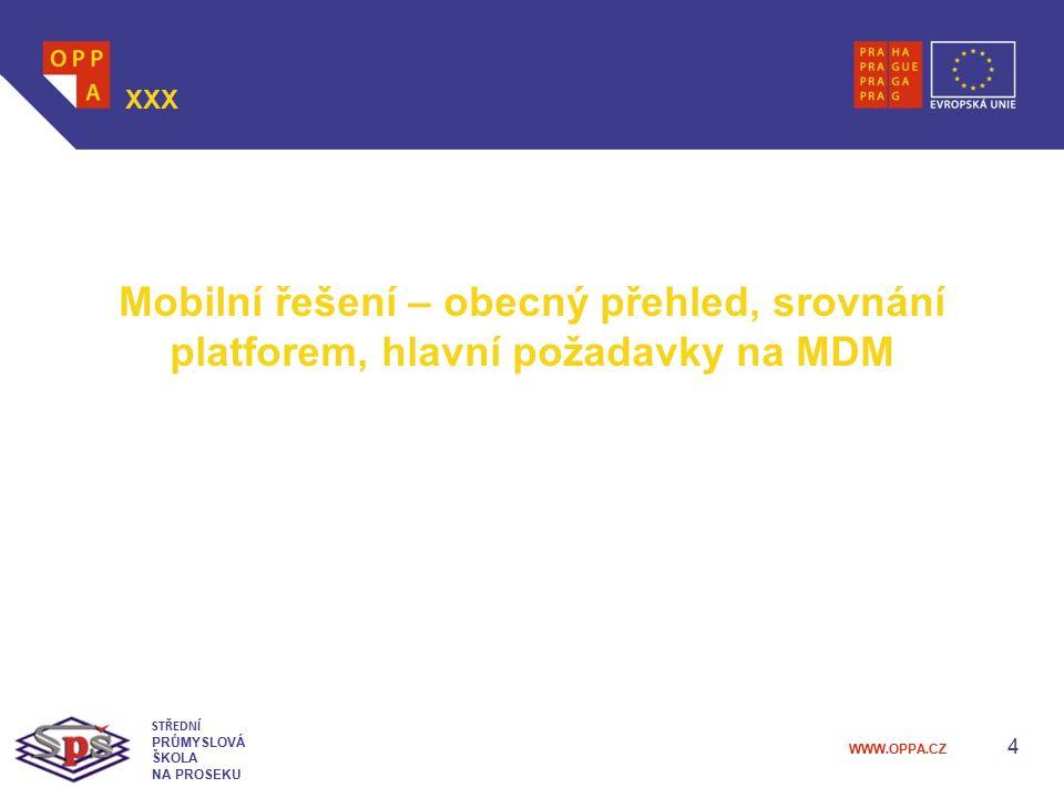 XXX Mobilní řešení – obecný přehled, srovnání platforem, hlavní požadavky na MDM. STŘEDNÍ. PRŮMYSLOVÁ.