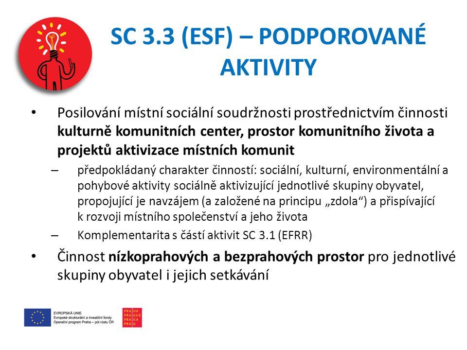 SC 3.3 (ESF) – PODPOROVANÉ AKTIVITY