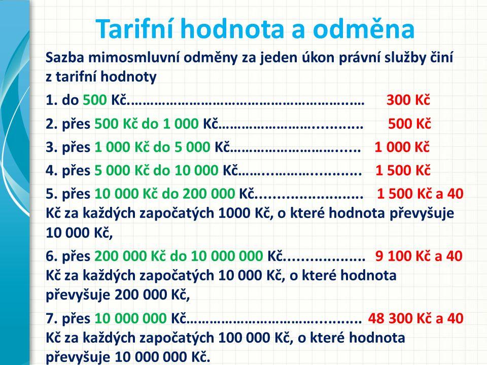 Tarifní hodnota a odměna