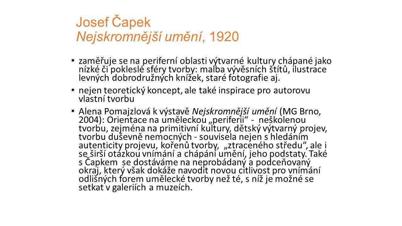 Josef Čapek Nejskromnější umění, 1920