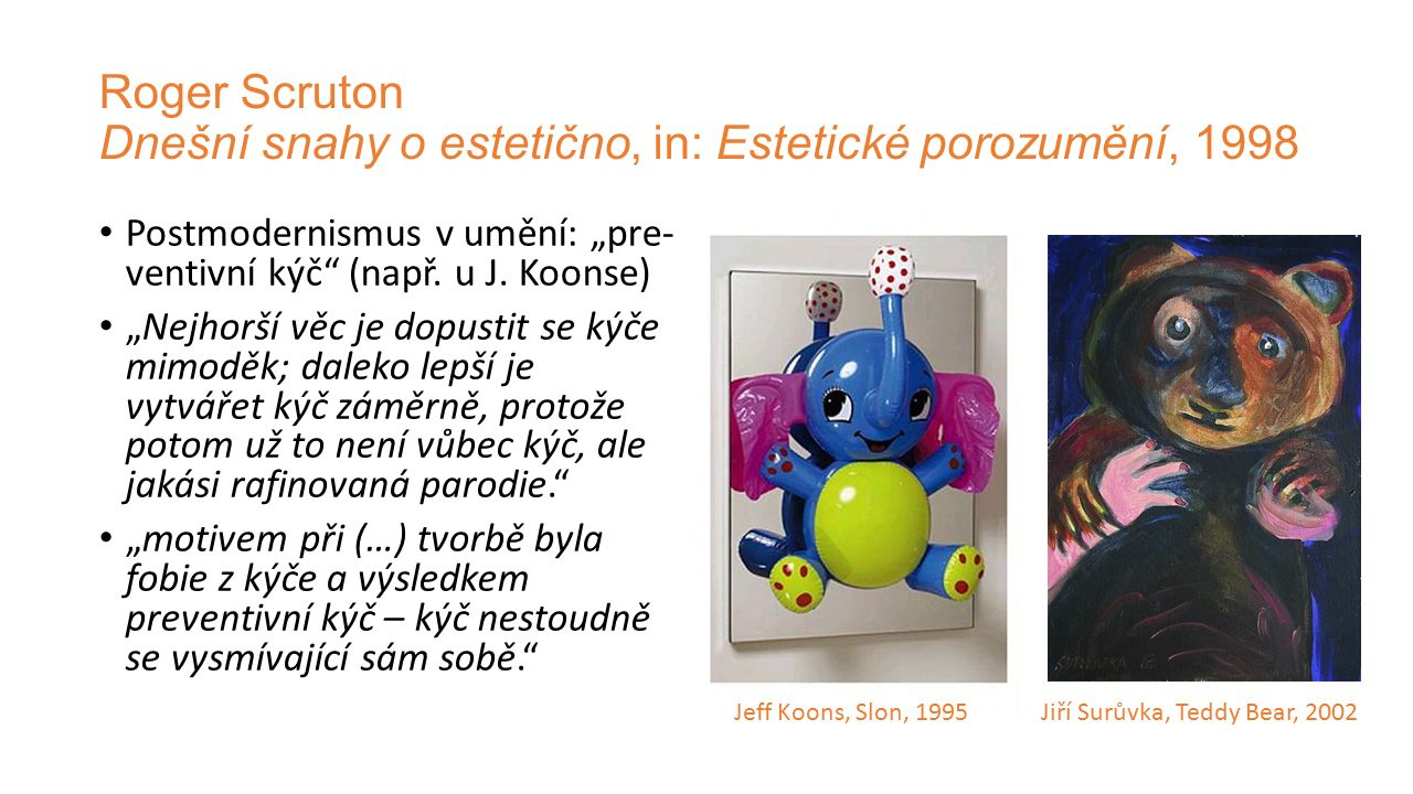 Roger Scruton Dnešní snahy o estetično, in: Estetické porozumění, 1998