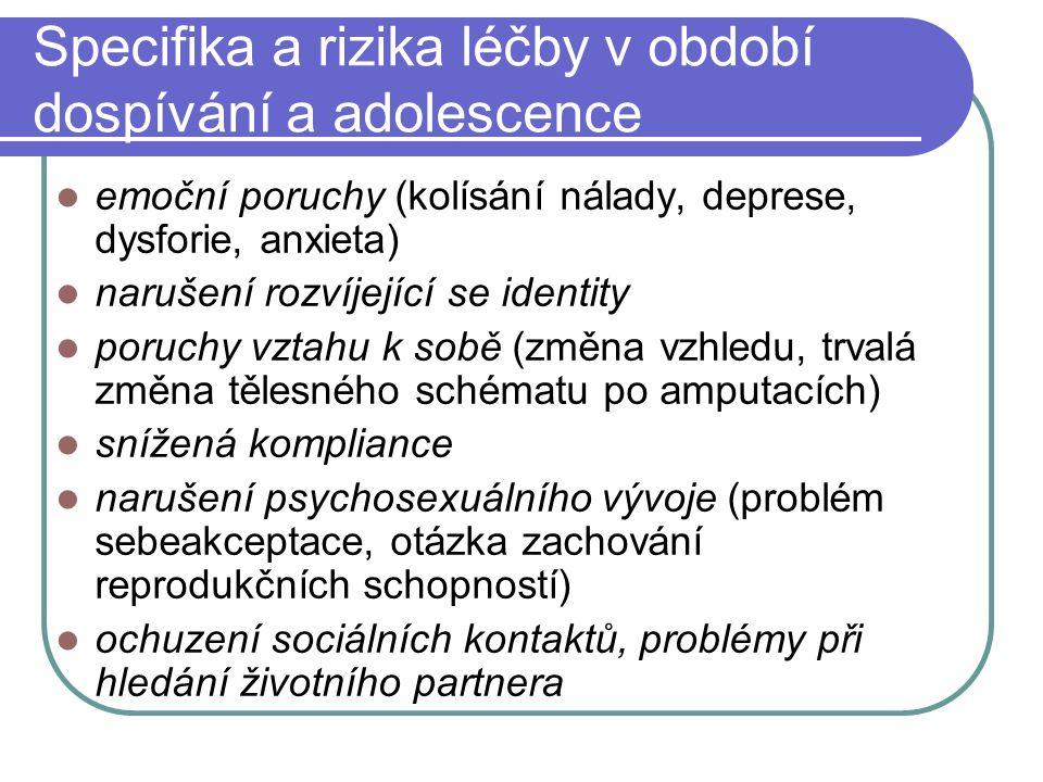 Specifika a rizika léčby v období dospívání a adolescence