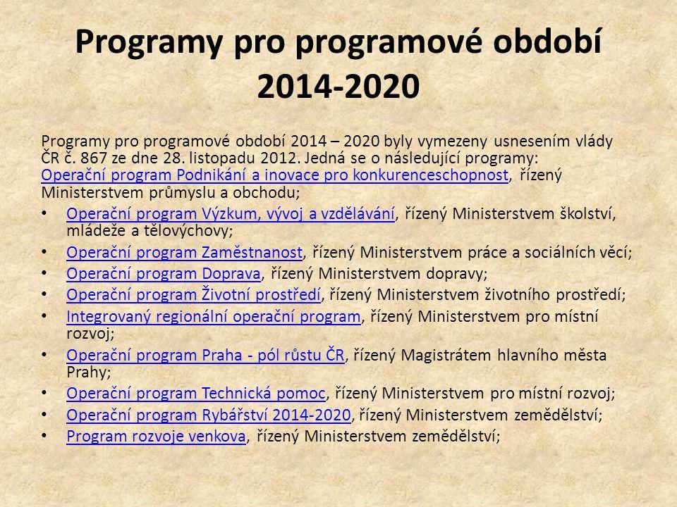 Programy pro programové období 2014-2020