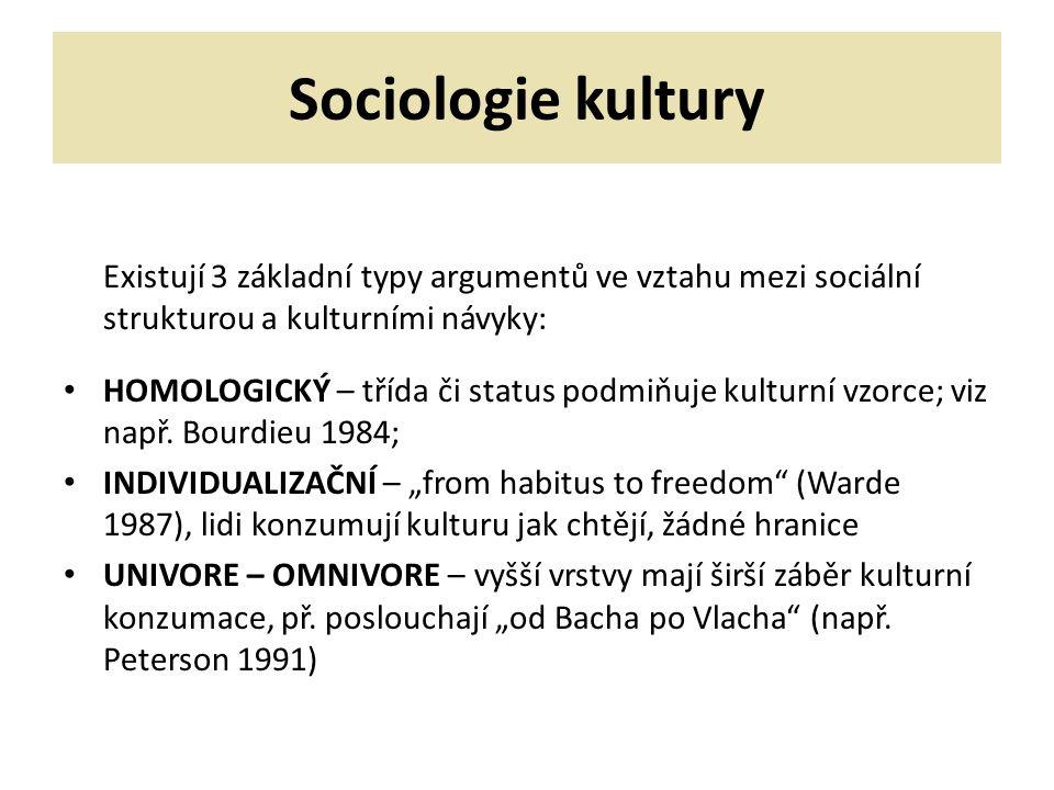 Sociologie kultury Existují 3 základní typy argumentů ve vztahu mezi sociální strukturou a kulturními návyky: