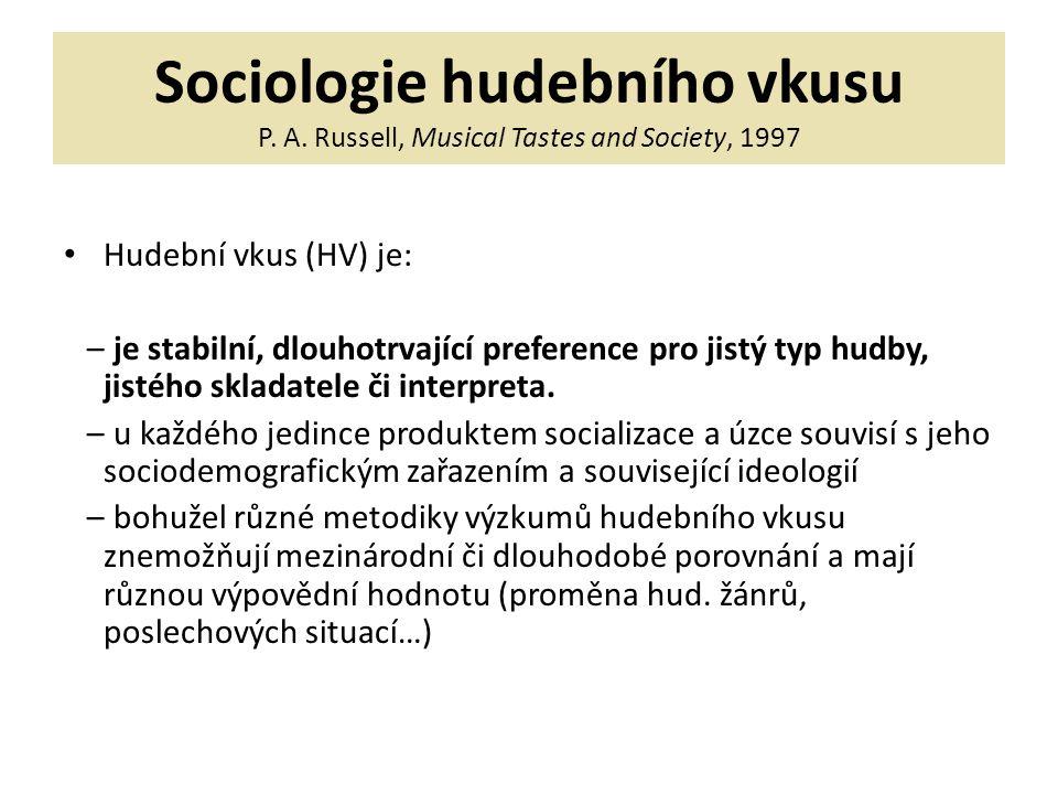 Sociologie hudebního vkusu P. A