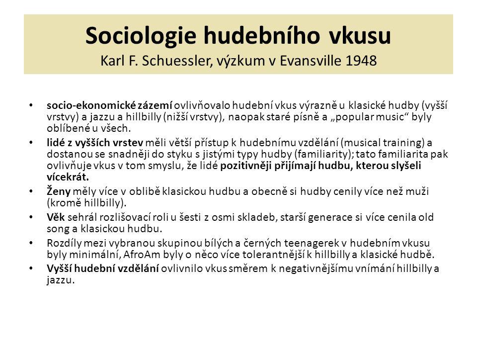 Sociologie hudebního vkusu Karl F. Schuessler, výzkum v Evansville 1948