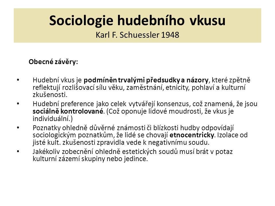 Sociologie hudebního vkusu Karl F. Schuessler 1948