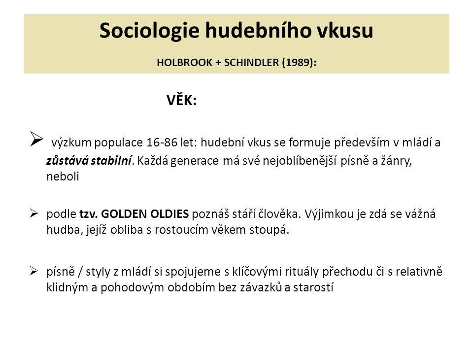 Sociologie hudebního vkusu HOLBROOK + SCHINDLER (1989):
