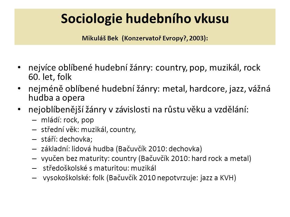 Sociologie hudebního vkusu Mikuláš Bek (Konzervatoř Evropy , 2003):