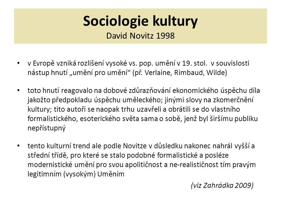 Sociologie kultury David Novitz 1998