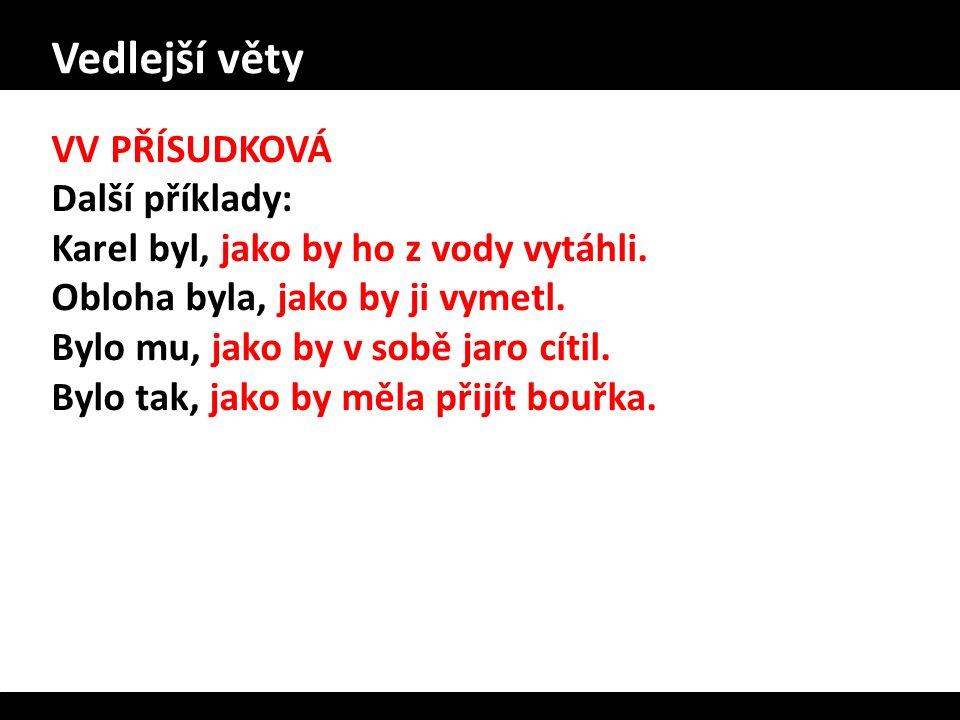 Vedlejší věty VV PŘÍSUDKOVÁ Další příklady: