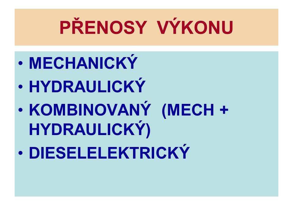 PŘENOSY VÝKONU MECHANICKÝ HYDRAULICKÝ KOMBINOVANÝ (MECH + HYDRAULICKÝ)