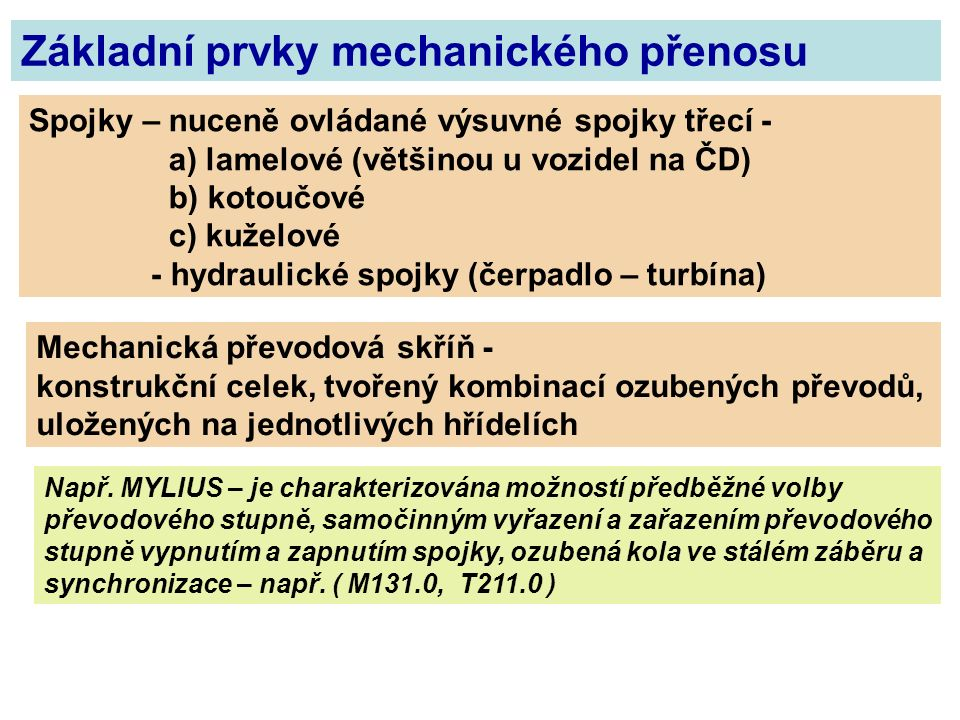 Základní prvky mechanického přenosu